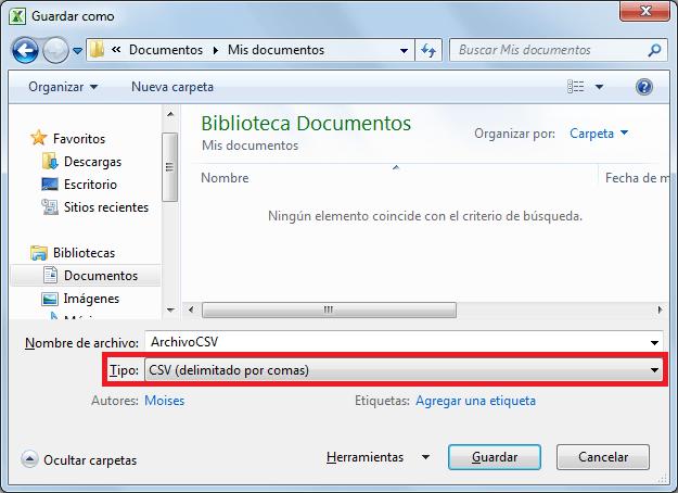 Exportar datos de Excel a un archivo CSV
