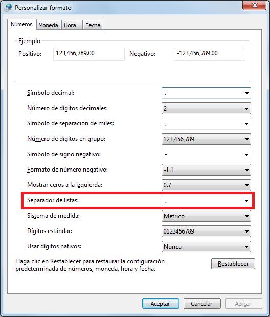 Cambiar carácter delimitador de CSV en Excel