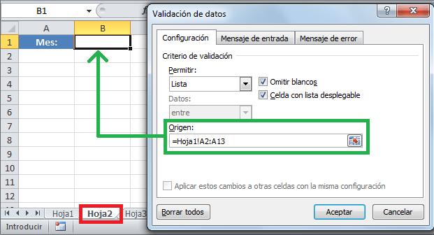 Lista desplegable con datos de otra hoja en Excel