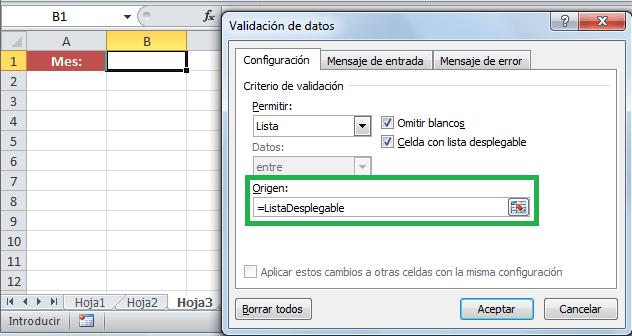 Lista de validación con datos en otra hoja de Excel