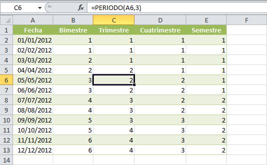 Calcular el semestre de una fecha en Excel