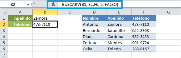 Buscar datos en Excel con la función BUSCARV