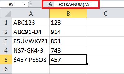 Función VBA para extraer números de una celda