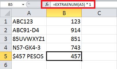 Extraer de una celda todos los valores numéricos