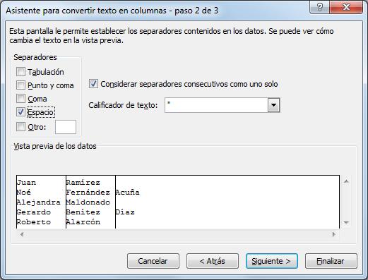 Separar nombres y apellidos en columnas diferentes en Excel