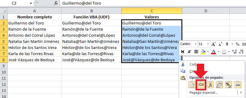Dividir nombres completos en nombres y apellidos en Excel