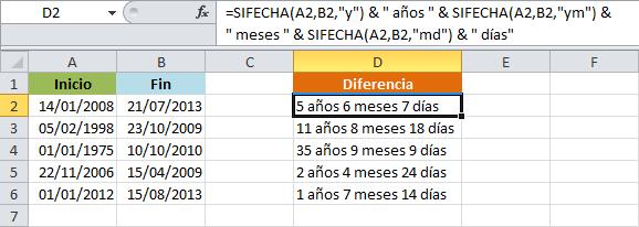 Determinar el número de años, meses y días entre dos fechas en Excel