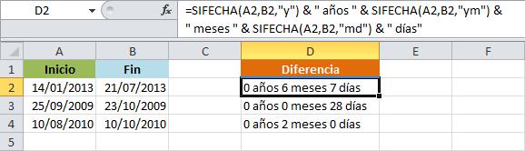 Cómo calcular los años, meses y días entre dos fechas en Excel