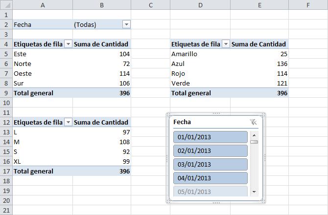Enlazar varias tablas dinámicas por un filtro de informe
