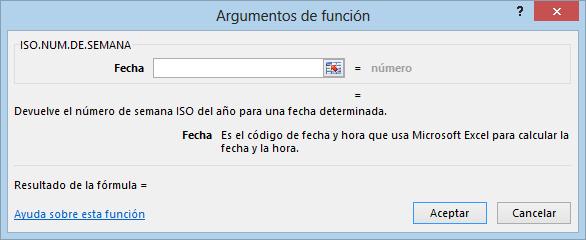 Función ISO.NUM.DE.SEMANA en Excel