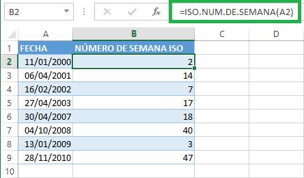 Ejemplo de la función ISO.NUM.DE.SEMANA en Excel 2013