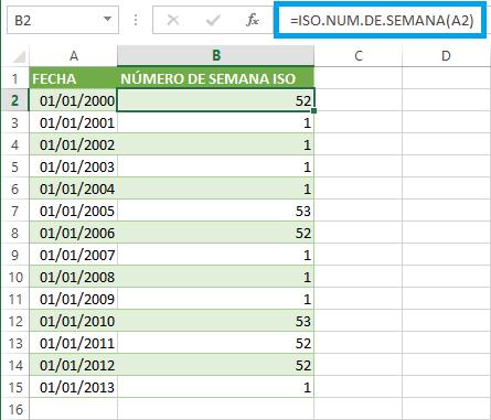 Calcular la semana ISO en Excel 2013