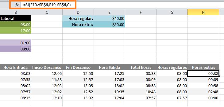 Cómo calcular horas extras en Excel