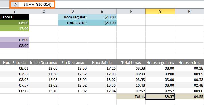 Cálculo de horas extras semanales en Excel