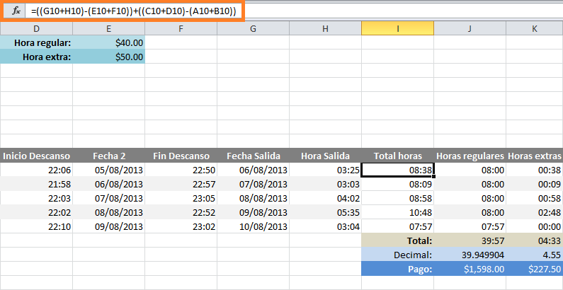 Fórmula en Excel para calcular horas extras