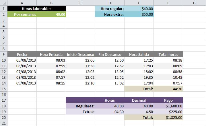 Planilla para calcular horas extras en Excel