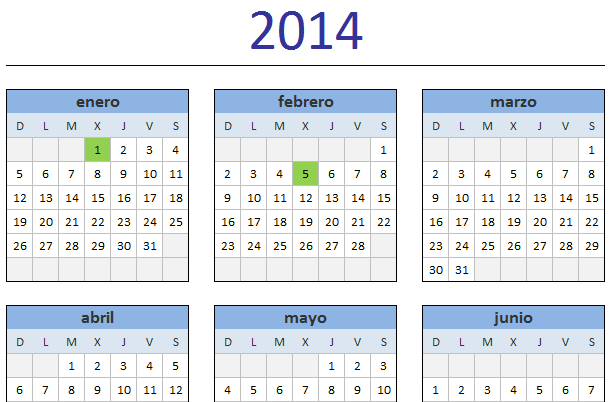 Calendario 2014 Excel