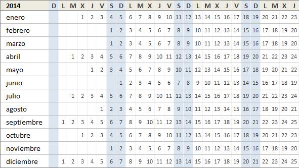 Calendario Excel 2014