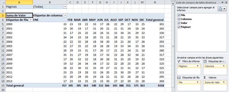 Transformar una matriz a columnas en Excel