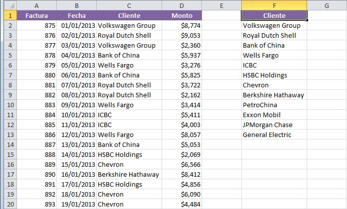 Macro para extraer valores únicos en Excel
