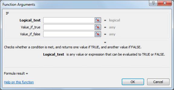 Función IF en Excel