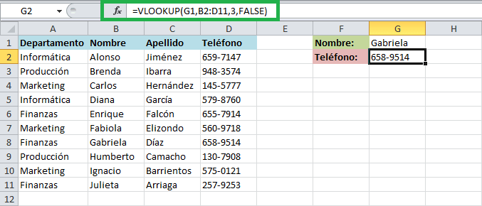 Uso de función VLOOKUP en Excel