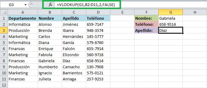 Ejemplos de la función VLOOKUP en Excel