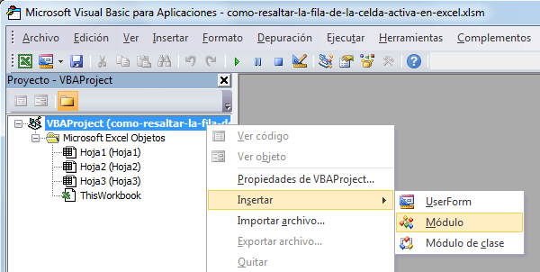 Resaltar fila activa en Microsoft Excel