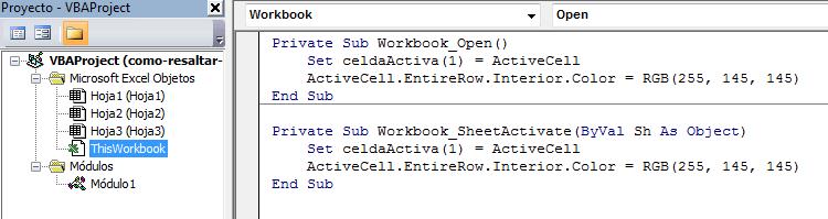 Resaltar la fila de la celda activa en Excel