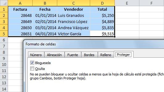 Proteger las celdas en Excel contra cambios