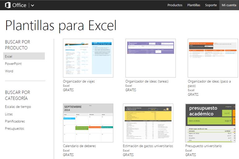 Plantillas de Excel Online