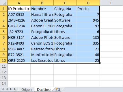 Macro para copiar datos de una tabla a otra hoja de Excel