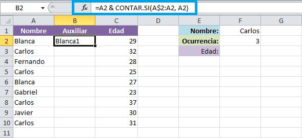 Función BUSCARV con registros repetidos en Excel