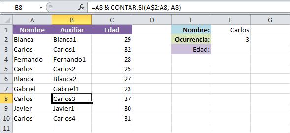 BUSCARV valores repetidos en Excel