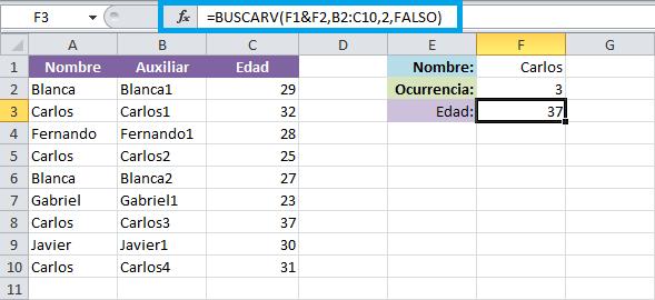 Usar BUSCARV en listas con valores repetidos en Excel