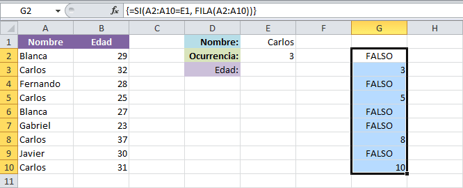 Simular BUSCARV con valores repetidos en Excel