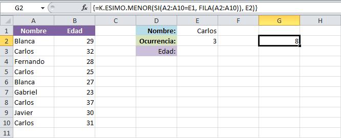 BUSCARV con datos repetidos en Excel