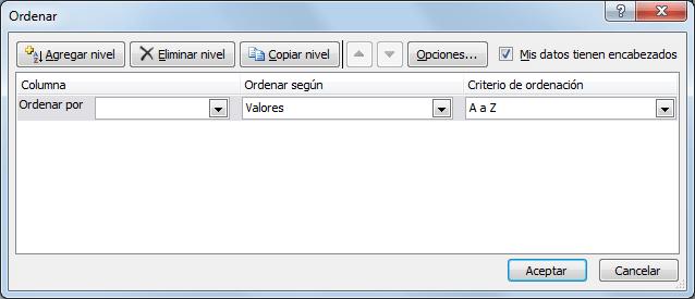Orden personalizado Excel