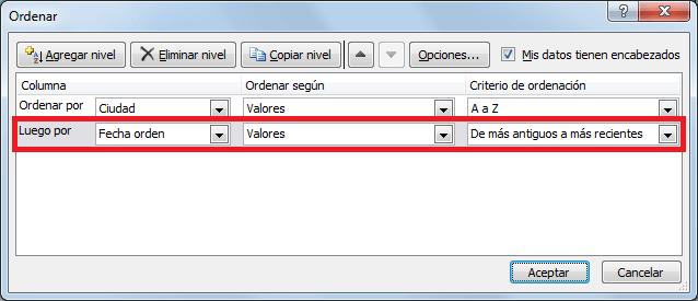Orden personalizado en un rango o tabla de Excel