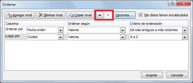 Ordenar datos en Excel por criterios personalizados