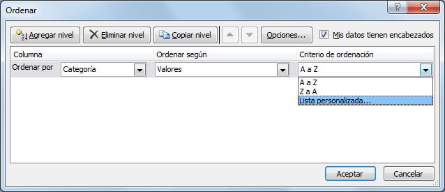 Cómo ordenar listas en Excel de forma personalizada