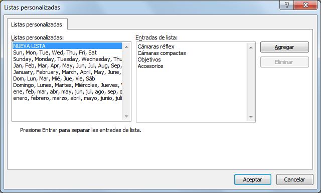 Opciones para ordenar listas de datos en Excel