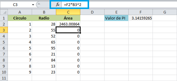 Referencias absolutas y relativas en Excel