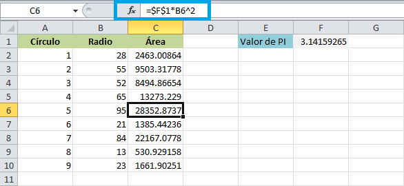 Ejemplo de referencias absolutas en Excel