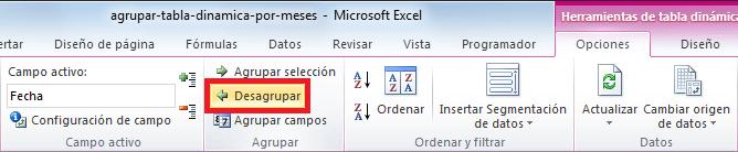 Tabla dinámica en Excel agrupada por meses