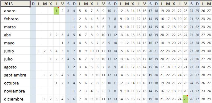 Calendario Excel 2015 Pertamini Co