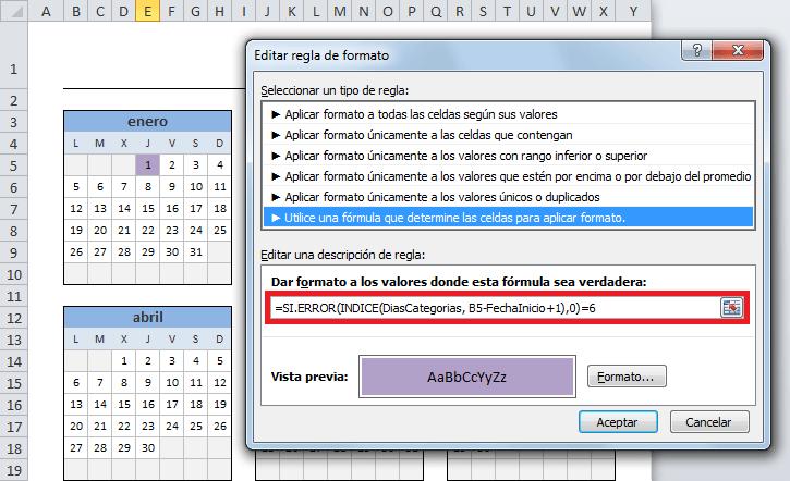 Calendario del año 2015 en Excel