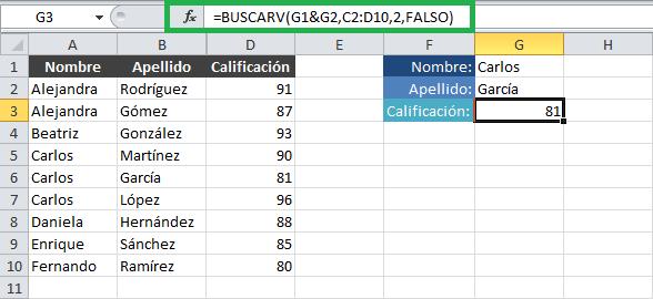 Función BUSCARV con dos o más criterios