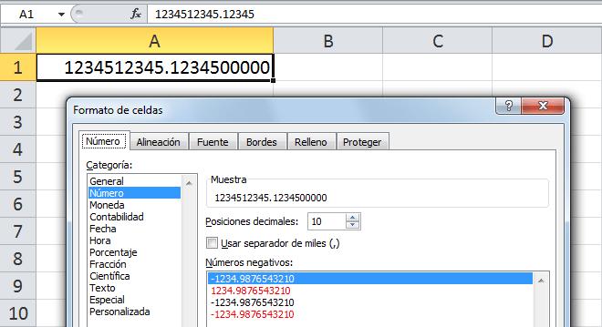 Problema en Excel con números muy largos
