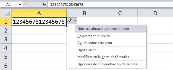 Números demasiado largos en Excel